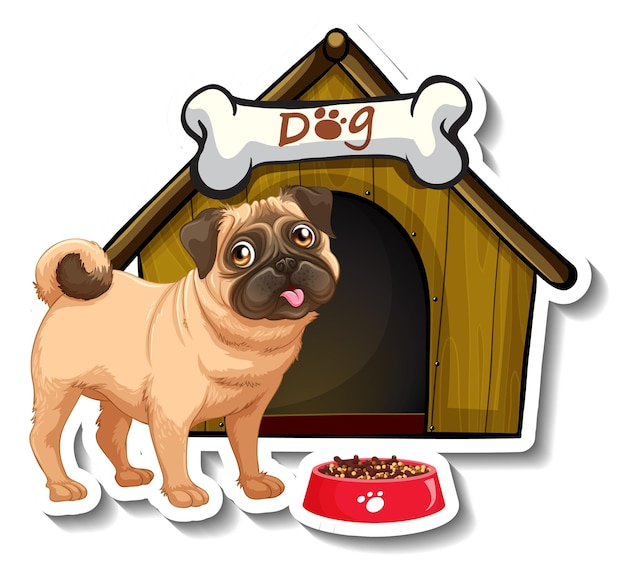 Diseño de etiqueta con pug de pie frente a la casa del perro.