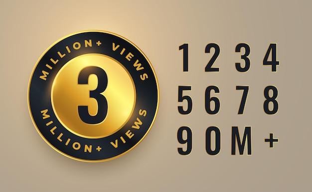 Diseño de etiqueta de recuento de 3 millones de vistas de video
