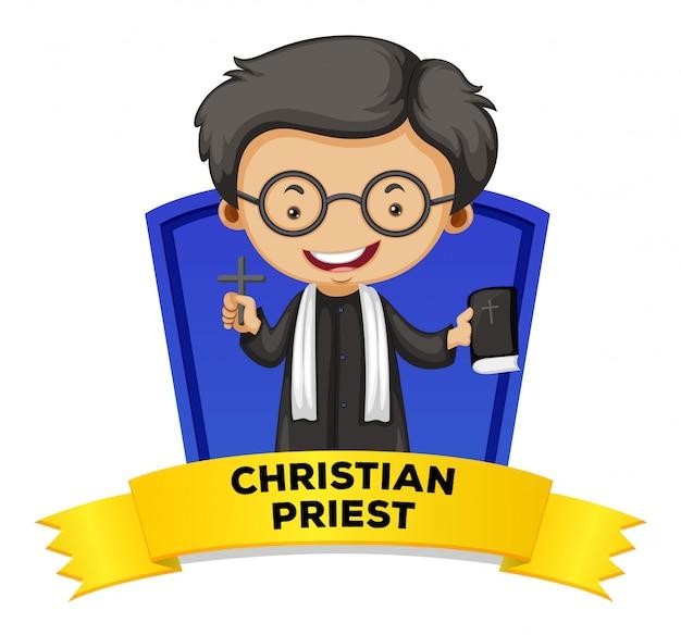 Diseño de etiqueta con sacerdote cristiano
