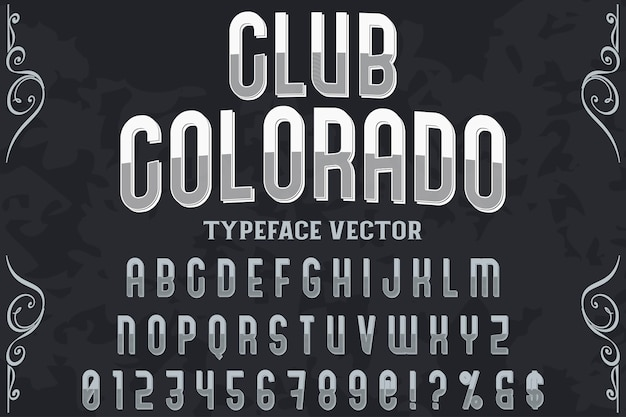 Diseño de etiqueta de tipografía club colorado
