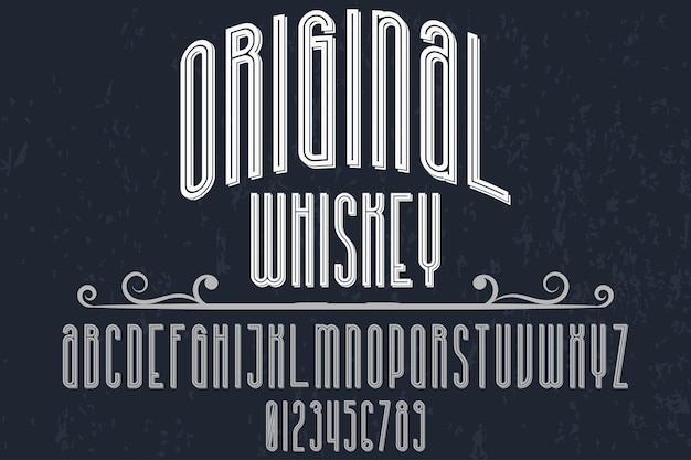 Diseño de etiqueta de tipografía retro whisky