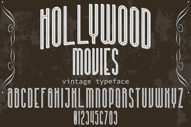 Diseño de etiqueta tipografía vintage películas de hollywood