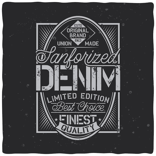 Diseño de etiqueta vintage con composición de letras en la oscuridad