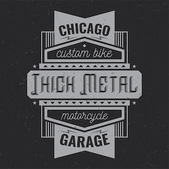 Diseño de etiqueta vintage con composición de letras en la oscuridad.