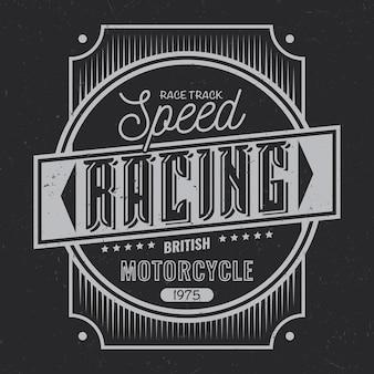 Diseño de etiqueta vintage con composición de letras sobre fondo oscuro
