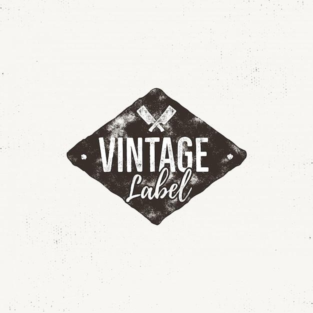 Diseño de etiqueta vintage. efecto tipográfico con texto y cortes de cuchillo de carne aislado