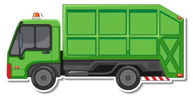Diseño de etiqueta con vista lateral del camión volquete aislado
