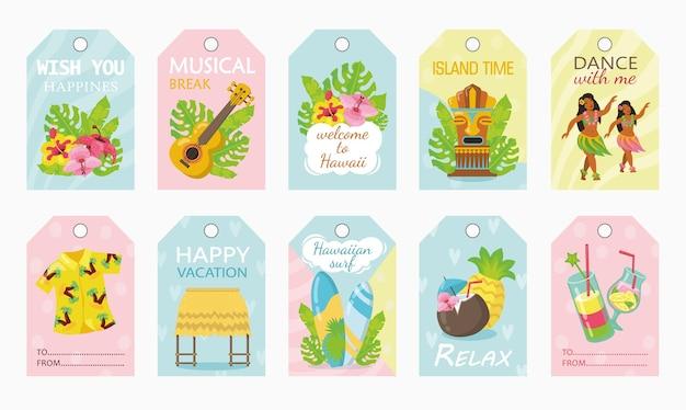 Diseño de etiquetas coloridas para vacaciones en la ilustración de vector de hawaii
