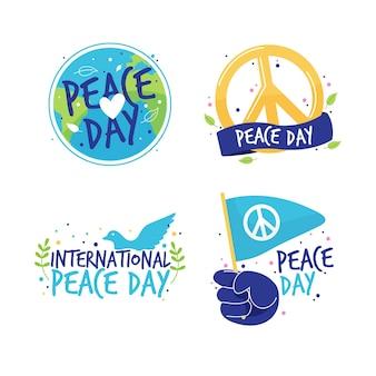 Diseño de etiquetas del día internacional de la paz
