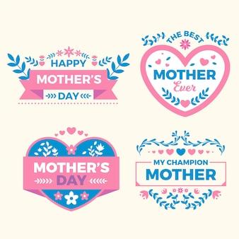 Diseño de etiquetas de día de la madre de diseño plano