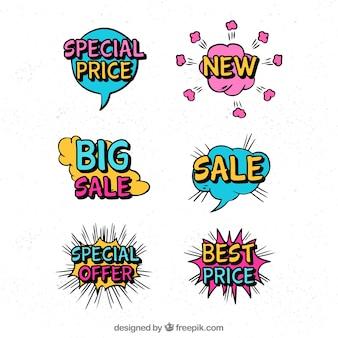 Diseño de etiquetas en estilo comic
