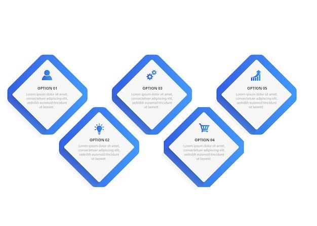 Diseño de etiquetas infográficas con iconos y 5 opciones o infografías de pasos para el concepto de negocio