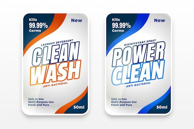 Diseño de etiquetas de lavado con detergente juego de dos