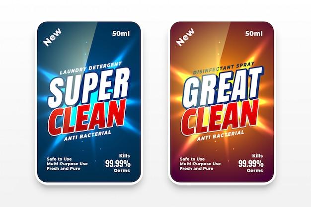 Diseño de etiquetas más limpias para detergente o desinfectante.