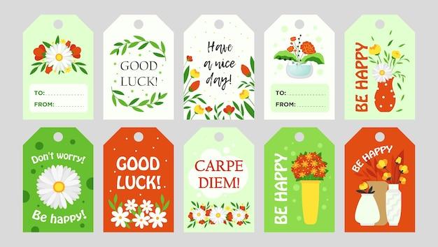 Diseño de etiquetas de moda con flores. elementos gráficos brillantes con texto de saludo y elementos florales. concepto de tienda familiar de florística y floristería. plantilla para etiquetas de felicitación o tarjeta de invitación.