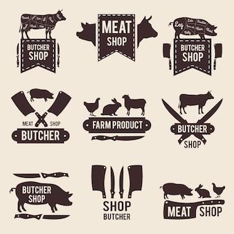 Diseño de etiquetas monocromo para carnicería.