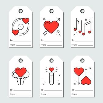 Diseño de etiquetas de regalo sobre fondo blanco. amor, romántico, boda, tema del corazón. colección imprimible de san valentín en estilo de línea.