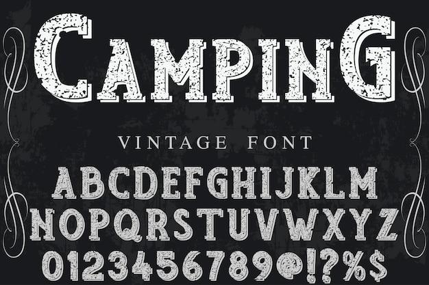 Diseño de etiquetas tipográficas camping.