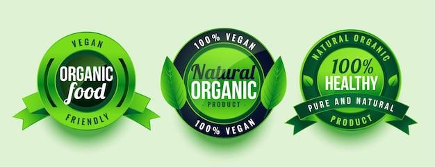 Diseño de etiquetas verdes de alimentos saludables orgánicos naturales