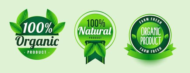 Diseño de etiquetas verdes de productos orgánicos naturales.