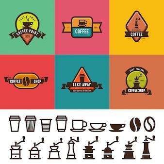 Diseño de etiquetas vintage de cafetería. insignias de plantillas de logotipos con paquete de iconos