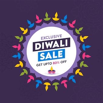 Diseño exclusivo de carteles de venta de diwali