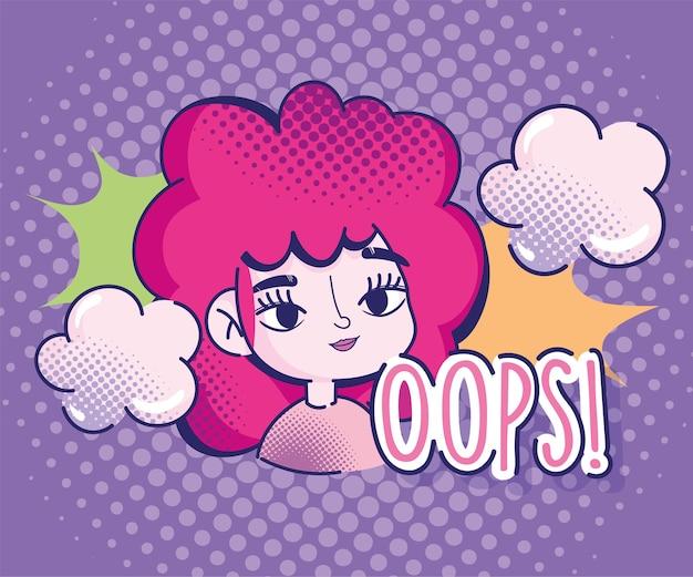 Diseño de explosión de nubes cómicas de cabello rojo de semitono de niña de dibujos animados de arte pop