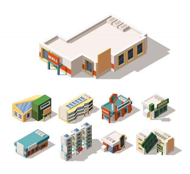 Diseño exterior de centro comercial isométrico conjunto de ilustraciones de vectores 3d