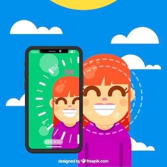 Diseño de face id con chica sonriente