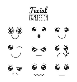 Diseño facial de expresión divertida