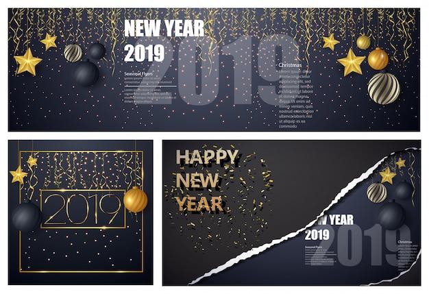 Diseño de feliz año nuevo sobre fondo negro con 2019. gran conjunto de plantillas de diseño de tarjetas de felicitación.