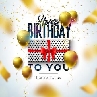 Diseño de feliz cumpleaños con globo, caja de regalo y confeti cayendo sobre fondo claro.