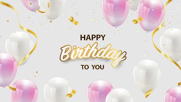 Diseño de feliz cumpleaños con globos de color rosa y blanco, confeti y cintas doradas. tarjeta de felicitación de lujo rica.