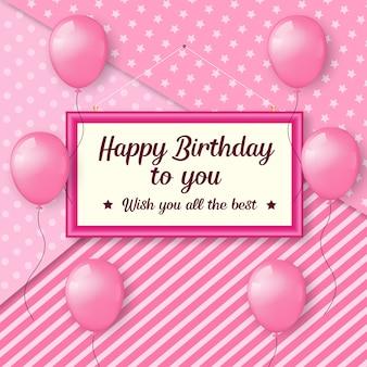Diseño de feliz cumpleaños con globos rosas y textura
