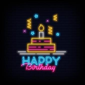 Diseño feliz cumpleaños letrero de neón