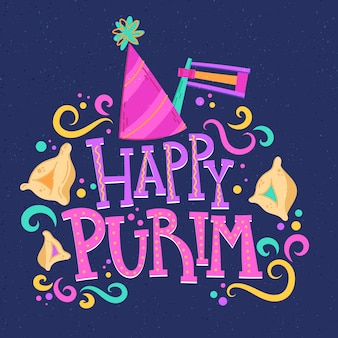Diseño de feliz día de purim dibujado a mano