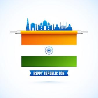 Diseño feliz del día de la república con la bandera india y los monumentos famosos de la india en color azul