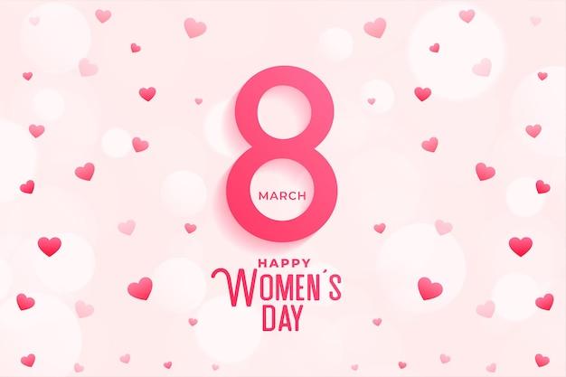Diseño feliz del fondo del corazón de la celebración del día de la mujer