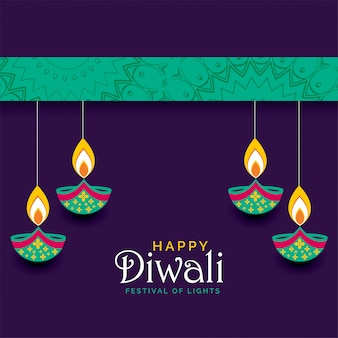 Diseño feliz hermoso del saludo del festival de diwali
