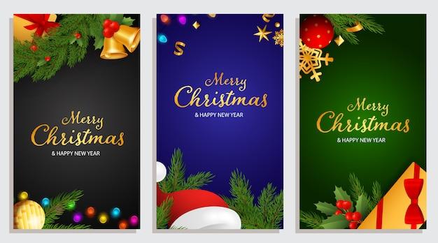 Diseño de feliz navidad y feliz año nuevo con bayas de acebo
