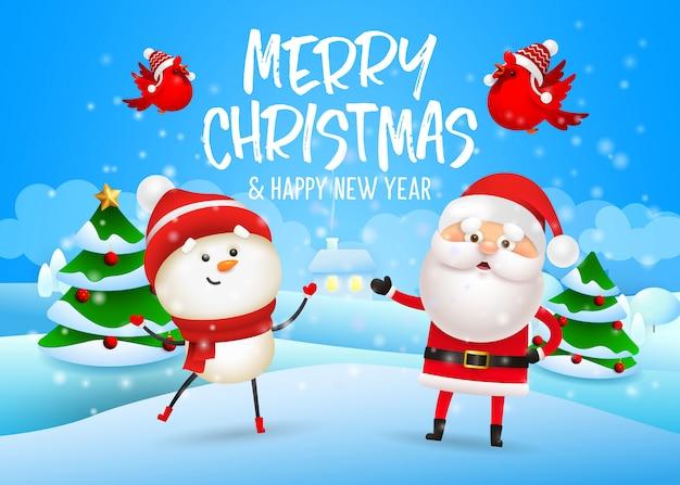 Diseño feliz navidad con muñeco de nieve y santa claus