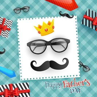 Diseño feliz de la tarjeta de felicitación de la celebración del día de padre con el decorat