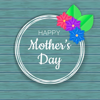 Diseño feliz de la tarjeta de felicitación del día de madre con las flores de corte de papel. diseño para flyer, tarjeta, invitación.