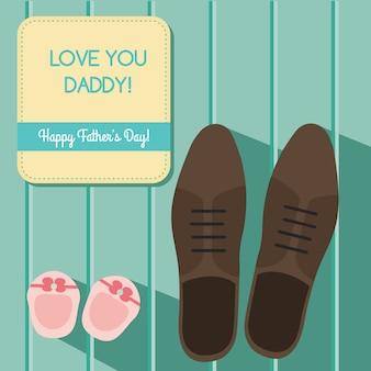 El diseño feliz de la tarjeta de felicitación del día de padres fijó con los zapatos del hombre s y los botines del bebé