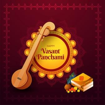 Diseño feliz de la tarjeta de felicitación de vasant panchami con el ejemplo de