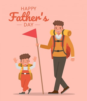 Diseño feliz del vector del carácter del padre y del hijo para el concepto del día de padre.
