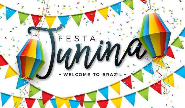 Diseño de festa junina con banderas de fiesta y linterna de papel.
