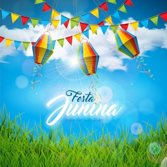 Diseño de festa junina con banderas y linterna de papel.