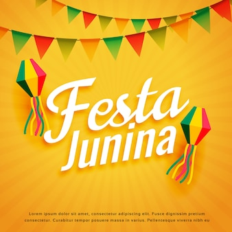 Diseño de festa junina sobre fondo amarillo starburst