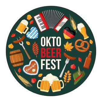 Diseño de festival de cerveza oktoberfest en estilo plano.